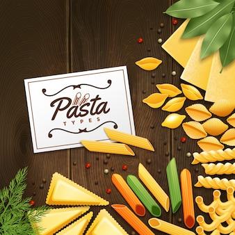 Il fondo con differenti generi di pasta con verde e le spezie sull'illustrazione di legno della tavola di legno