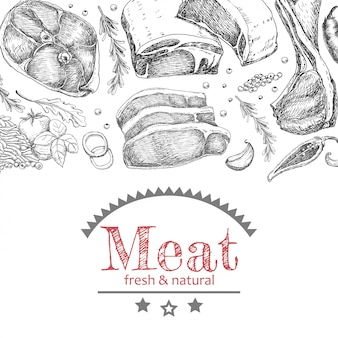 Background with different meat products