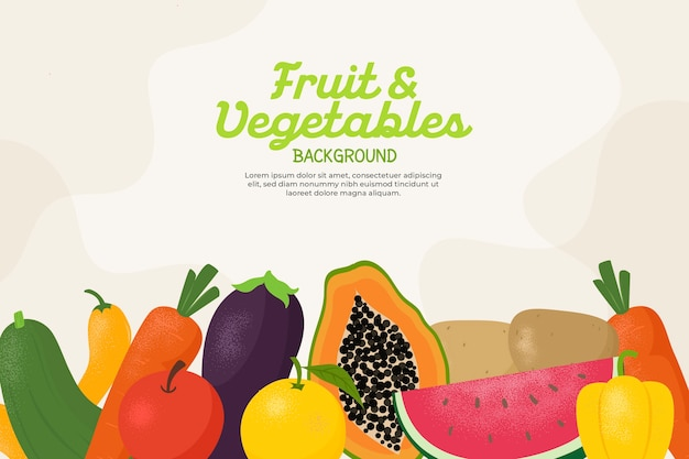 Background with different vegetables and fruit