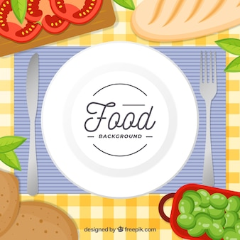 Background with dish and food in top view