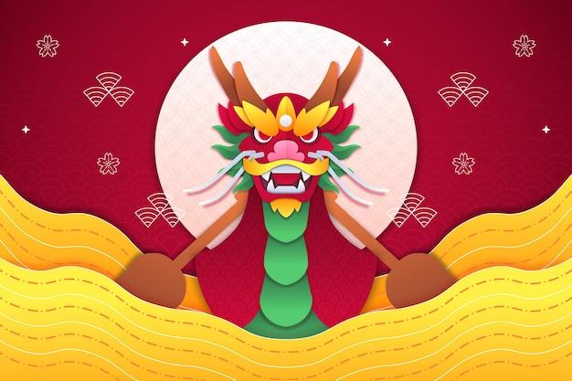 Фон с лодкой-драконом в бумажном стиле