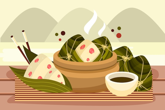 Background with dragon boat's zongzi