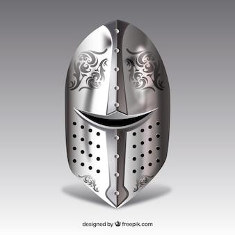 現実的なスタイルの鎧のエレガントなヘルメットの背景