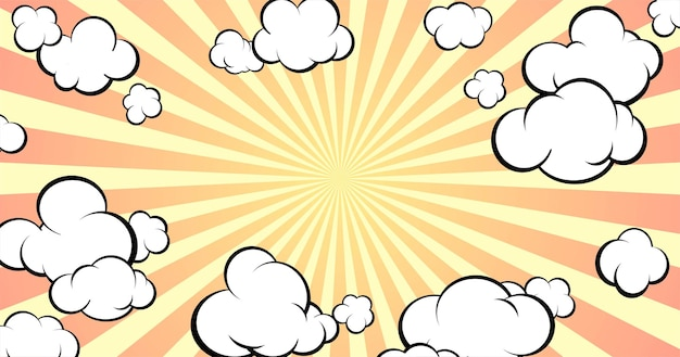 テキストまたはオブジェクト用の空きスペースのある背景。ポップアートスタイル。コミックスタイル。雲のある空。水平フォーマット。ベクトルイラスト。