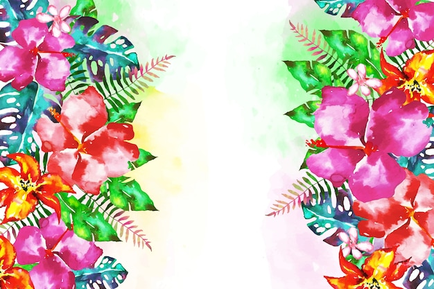 Background with exotic flowers