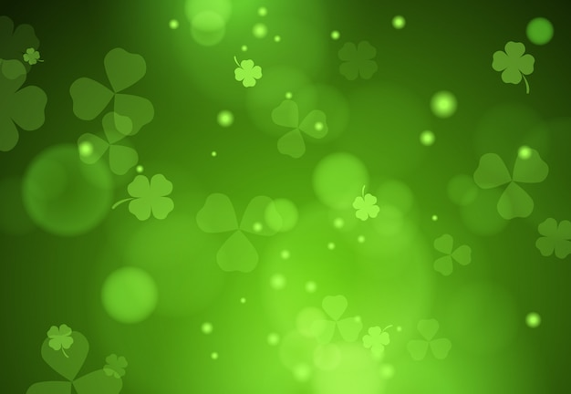 Background with falling clover leaves
