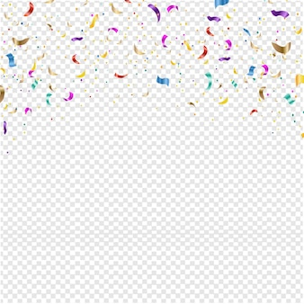 Background with falling confetti transparent background