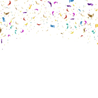 Background with falling confetti white background