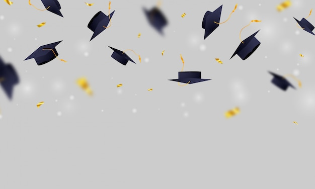 Background with falling mortarboard or square academic caps