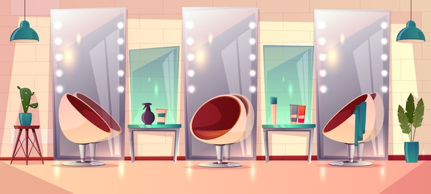 Background with female hairdressing salon