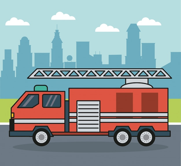 Background with firetruck on the outskirts of the city