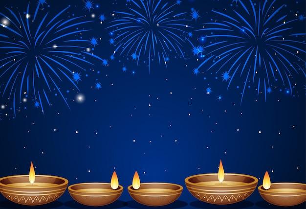 Background with fireworks and candle lights