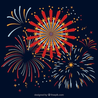 Background with fireworks in flat design