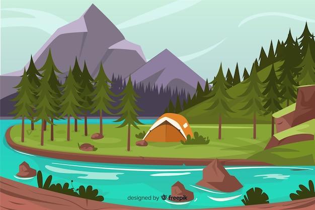 Background with flat design natural landscape