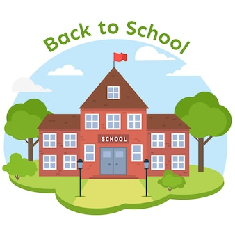 Background with flat designed school