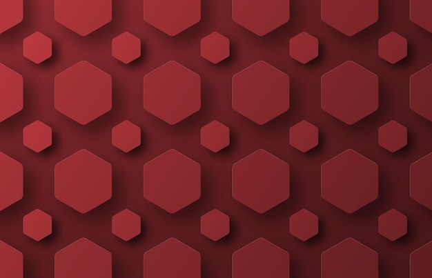 A background with flying red hexagons of different sizes.