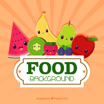 Background with food cartoons