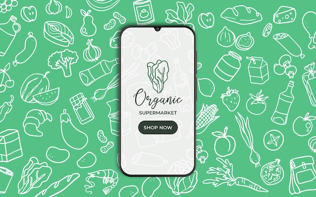 Background with food and smarthphone for supermarket