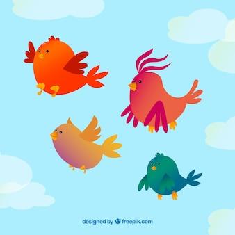 Sfondo con quattro uccelli in volo
