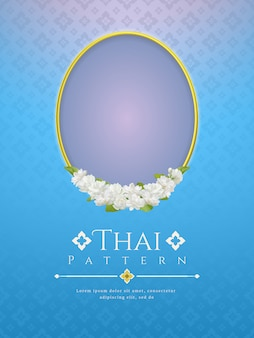 Background with frame and beautiful jasmine flower. modern line thai traditional design