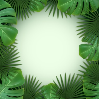 Background with frame of green tropical leaves of palm and monstera.