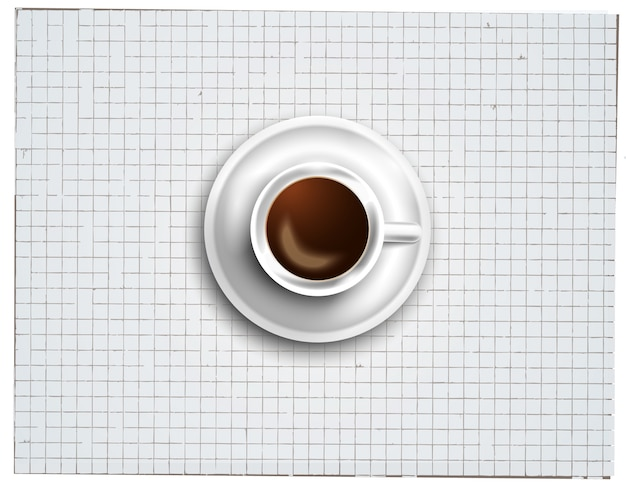 Background with a fresh coffee on table with icons