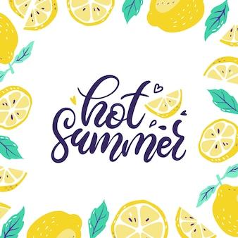 Background with fresh lemons and sliced lemon