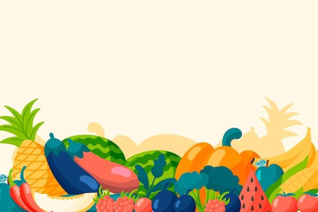Фон с фруктами и овощами