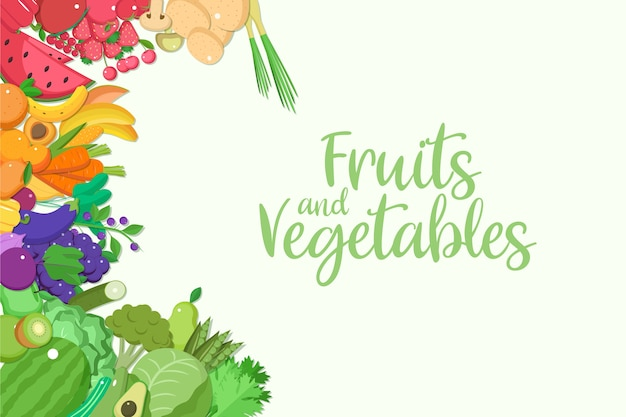 Background with fruit and vegetables