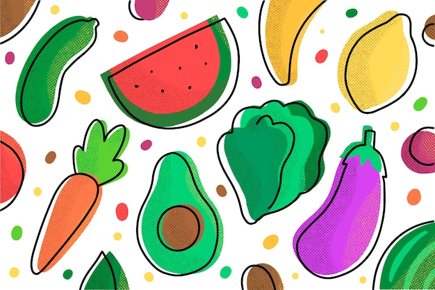 Background with fruits and vegetables concept