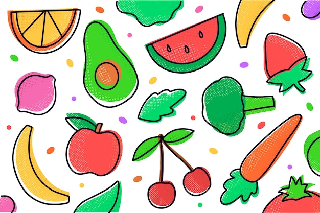 Background with fruits and vegetables