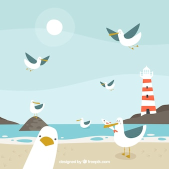 Background with funny seagulls