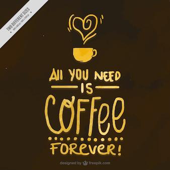 面白い水彩コーヒーメッセージを持つ背景