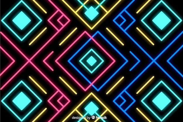 Background with geometric shapes and neon style
