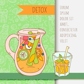 Background with glassware jar with fruit infused water. detox for health.