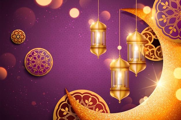 きらめく黄金の三日月形とランタンの要素を持つ背景、紫色の背景
