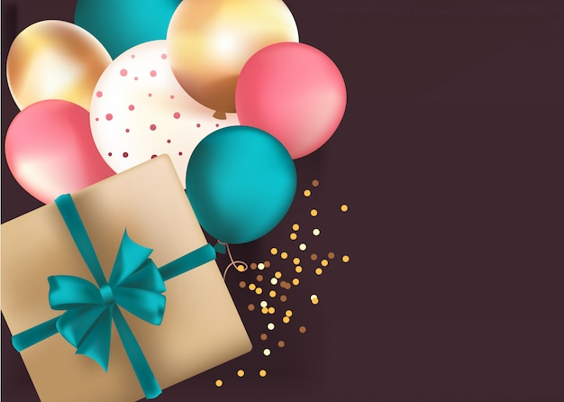 Background with gold box and balloons