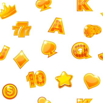 Background with gold casino icons on white, seamless repeating pattern.