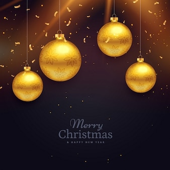 Background with golden christmas balls and confetti