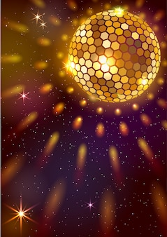 Background with golden disco ball and lights