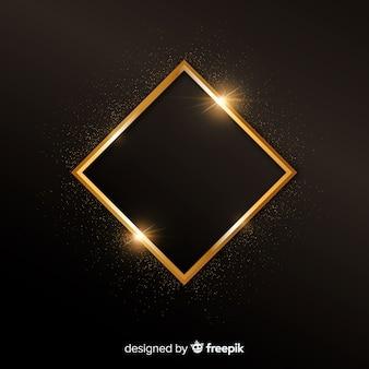 Background with golden sparkling frame