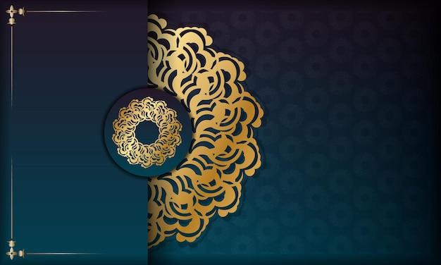 あなたのテキストの下のデザインのための抽象的な金の飾りとグラデーションの緑色の背景