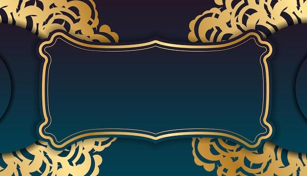 テキストの下のデザインのためのギリシャの金の飾りとグラデーションの緑色の背景