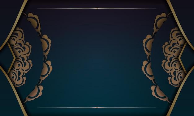 テキストの下のデザインのインドの金のパターンとグラデーションの緑色の背景