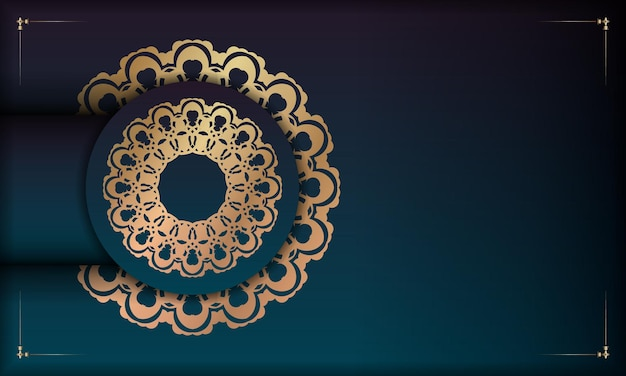 Background with gradient green color with mandala gold pattern for design under your logo