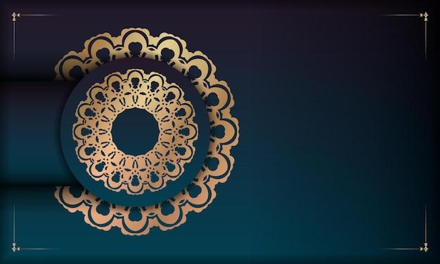 あなたのロゴの下のデザインのための曼荼羅ゴールドパターンとグラデーション緑色の背景