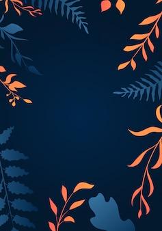 グラデーションの葉の背景