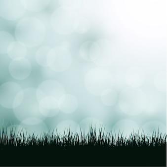 草とボケ味を持つ背景