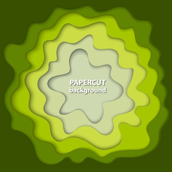 Background with green and beige paper cut
