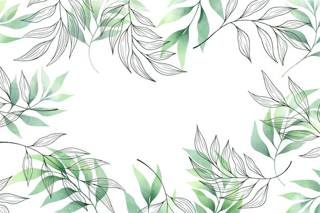 Background with green leaves copy space